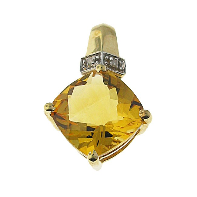 Citirine and diamond Pendant