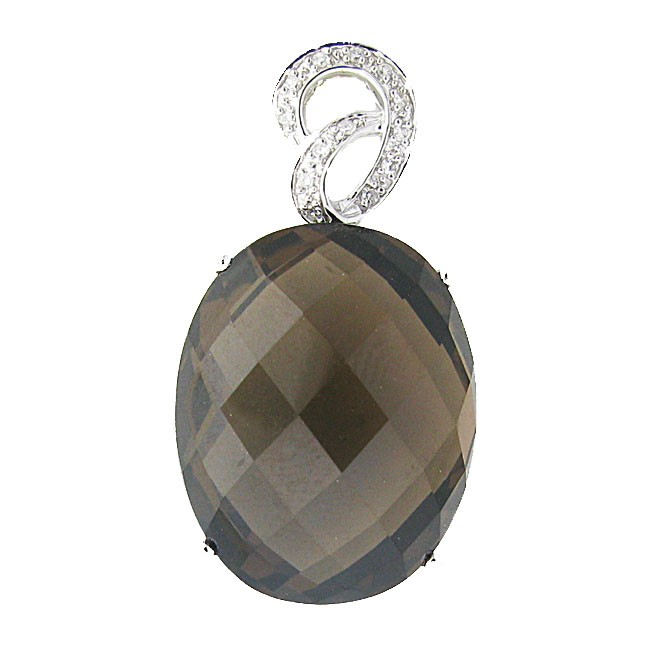 Smoky Topaz and Diamond Pendant