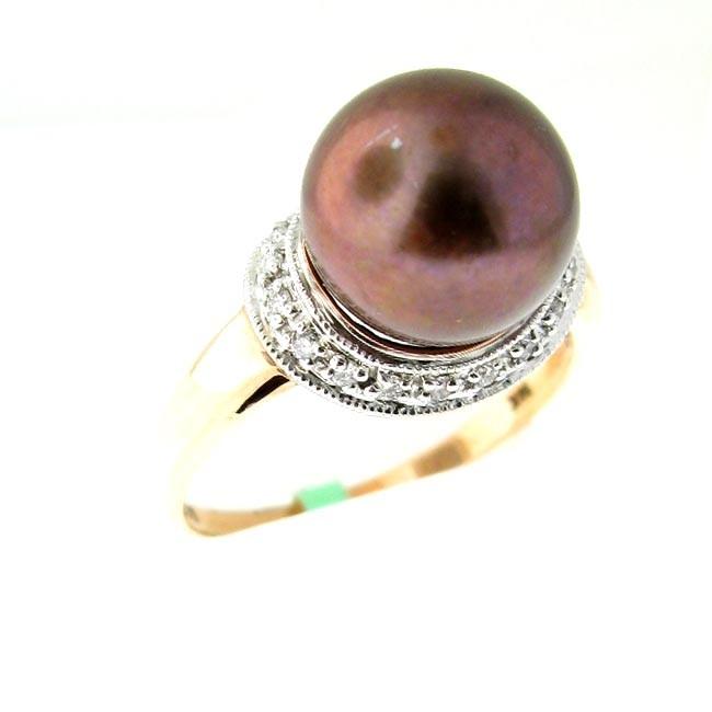 Chocolate Pearl & Diamond Ring