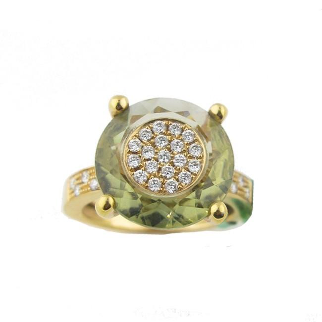 Green Amethyst & Diamond Ring