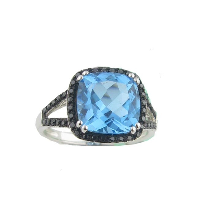 Blue Topaz & Black diamond Ring