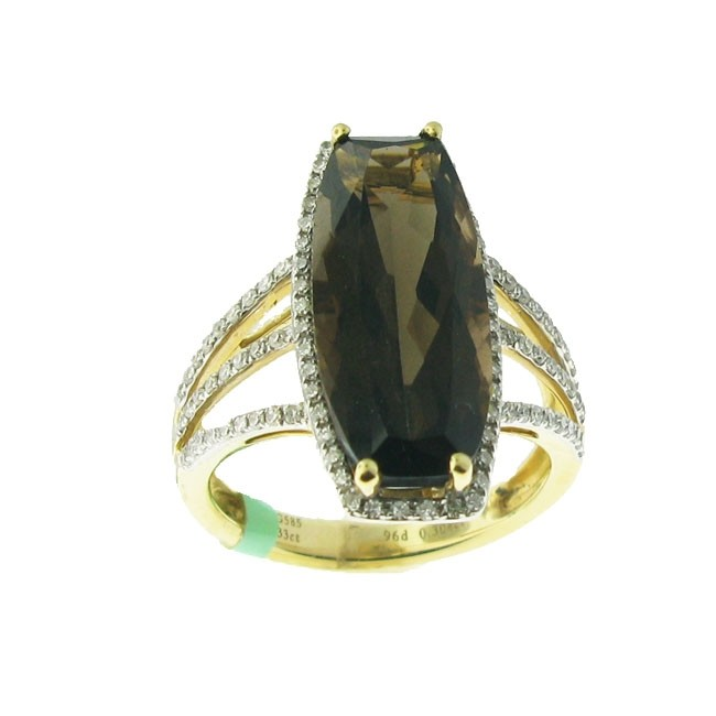 Smoky Topaz and Diamond ring