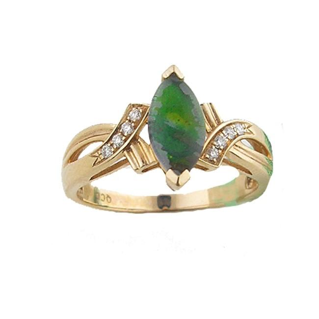 Amolite & Diamond Ring
