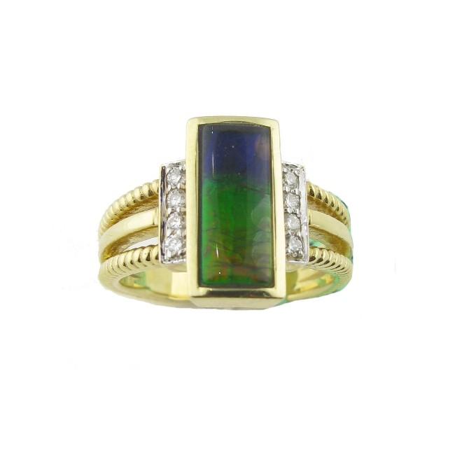 Ammolite & Diamond Ring