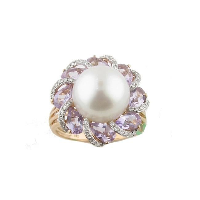 Pearl, Amethyst & Diamond Ring