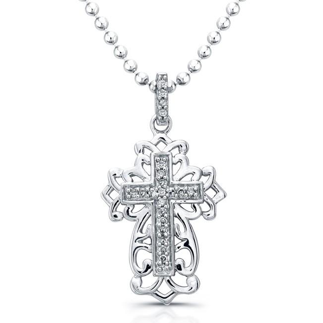 Sterling Silver Antique Diamond Cross Pendant