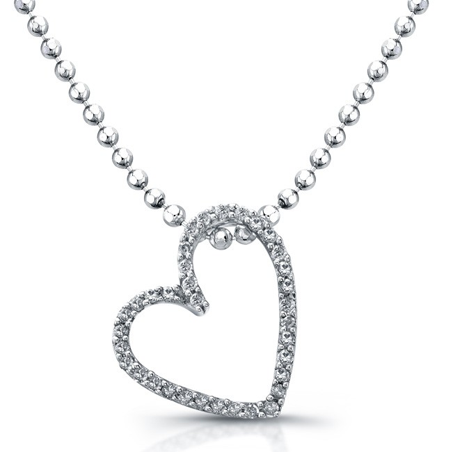Sterling Silver Sideways Modern Diamond Heart Pendant