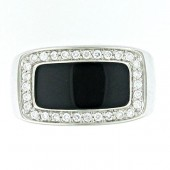 Mens Black Onyx & Diamond Ring