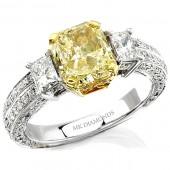 18k White and Yellow Gold Fancy Yellow Diamond Semi Mount Ring