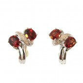 Garnet &amp; Diamond Earrings