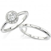 14k White Gold Classic Diamond Halo Semi Mount Engagement Ring Set