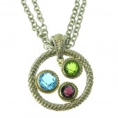 Multicolored Gemstone & Diamond Necklace