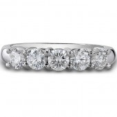 14k White Gold Classic Five-Stone Diamond Wedding Ring