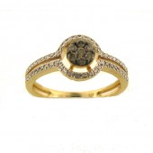 Toffee Brown & White Diamond Ring