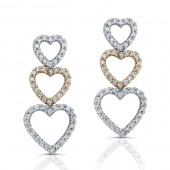 14k White and Rose Gold Diamond Heart Earrings