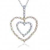 18k White and Rose Gold Two-Tone Diamond Double Heart Pendant