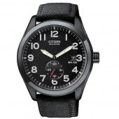 Citizen Eco-Drive Mens Black Dial and Nylon Strap Watch