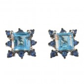 Blue Topaz &amp; Sapphire Earrings