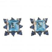 Blue Topaz & Sapphire Earrings