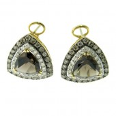Smokey Topaz &amp; Diamond Earrings