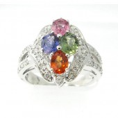 Multi Colored Sapphires & Diamond Ring