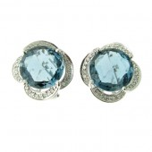 Blue Toapz & Diamond Earrings