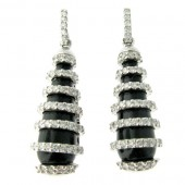 Black Onyx & Diamond Drop Earrings
