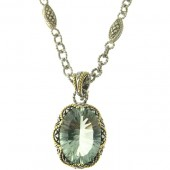 Green Amethyst & Diamond Necklace