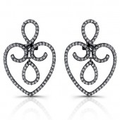 14k Black Gold Heart Shaped Diamond Drop Earrings