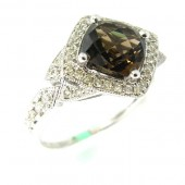 Smokey Topaz and Diamond Ring