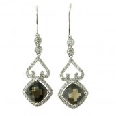 Smokey Topaz & Diamond Drop Earrings