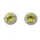 Yellow Emerald & Diamond Earrings