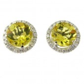Yellow Emerald & Diamond Stud Earrings