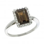 Smoky Topaz & Diamond Ring