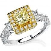 14k White and Yellow Gold Emerald Cut Diamond Semi Mount