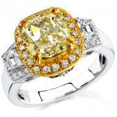 18k White and Yellow Gold Fancy Yellow Diamond Semi Ring