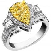 14k White Gold Pear Shaped Fancy Yellow Halo Diamond Three Stone Engagement Ring