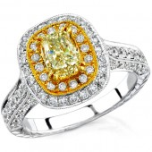 18k White and Yellow Gold Fancy Yellow Diamond Encrusted Semi Ring