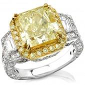 18k White and Yellow Gold Fancy Yellow Three Stone Diamond Engagement Ring