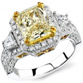 14k White and Yellow Gold Fancy Yellow Three Stone Diamond Engagement Ring