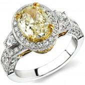 14k White Gold OvalFancy Yellow Three Stone Diamond Engagement Ring