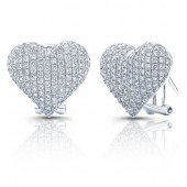 14k White Gold Pave Heart Earrings
