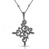 14k Black Gold Pave Swirl Ladies Necklace