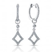 14k White Gold Open Diamond Earrings