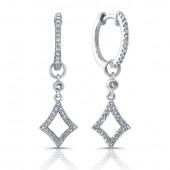 14k White Gold Open Diamond Earrings