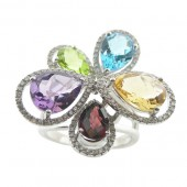 14k White Gold Diamond and Colored Gemstone Cocktail Ring