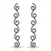 14k Black Gold Diamond Swirl Earrings