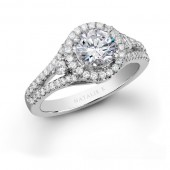 14k White Gold Diamond Halo Semi Mount Ring