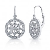 14k White Gold Diamond Wheel Earrings
