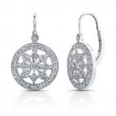 14k White Gold Diamond Wheel Earrings